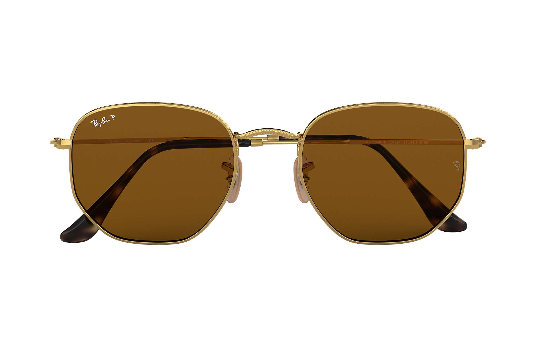 858fea81f1159 Ray-Ban Hexagonal Flat Lenses RB3548N Gold - Metal - Brown Polarized ...