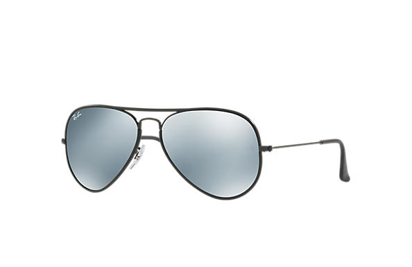 Ray-Ban Sunglasses AVIATOR FULL COLOR Black with Silver Flash lens