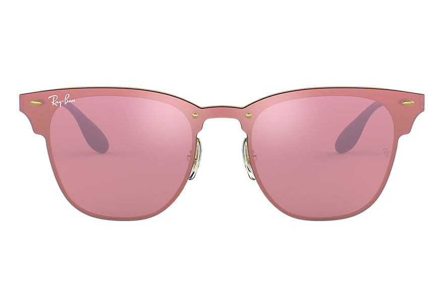 Ray-Ban Sunglasses BLAZE CLUBMASTER Gold with Pink Mirror lens