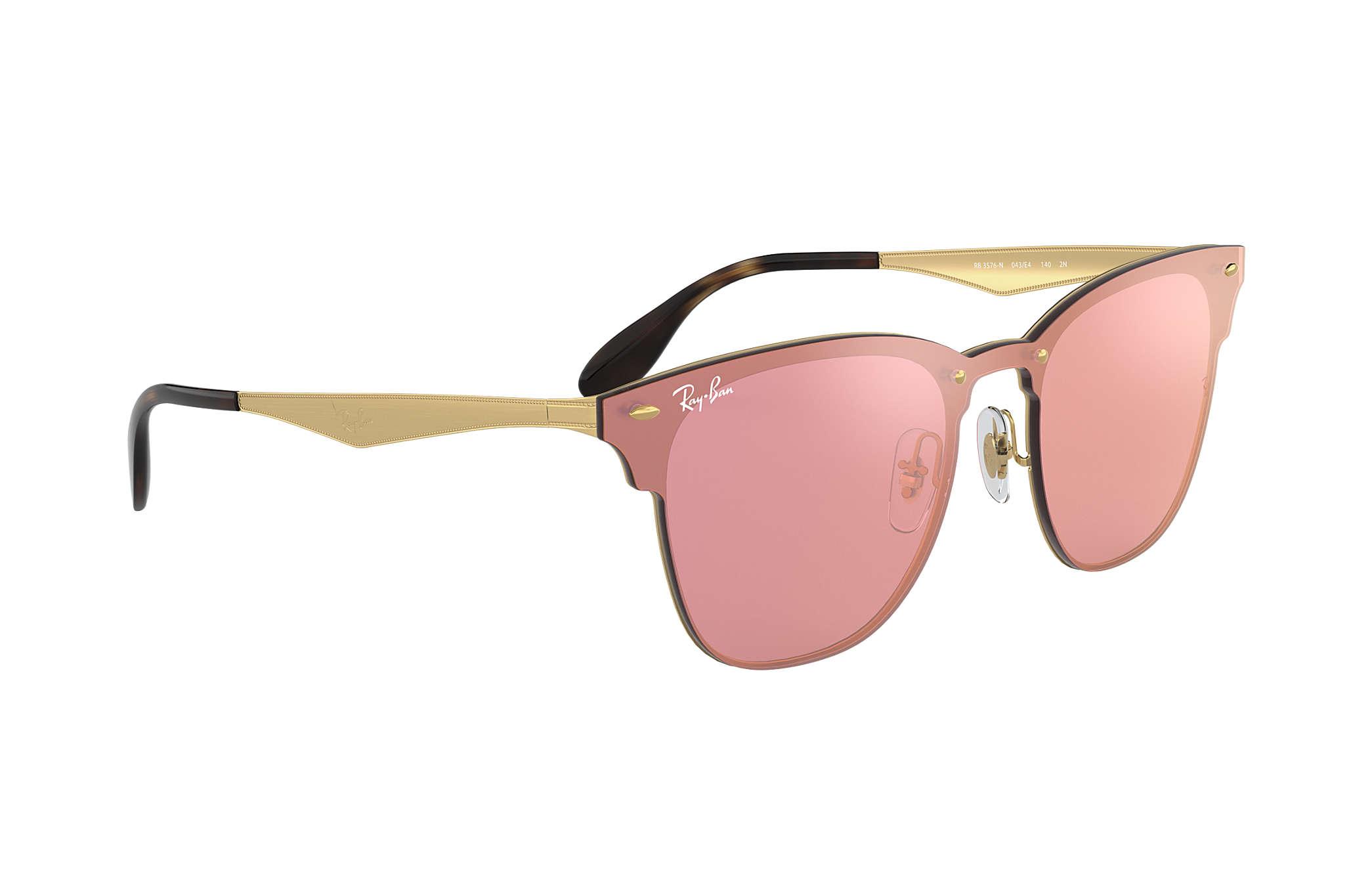 d51a7b4b5ea Ray-Ban Blaze Clubmaster RB3576N Gold - Metal - Pink Lenses ...