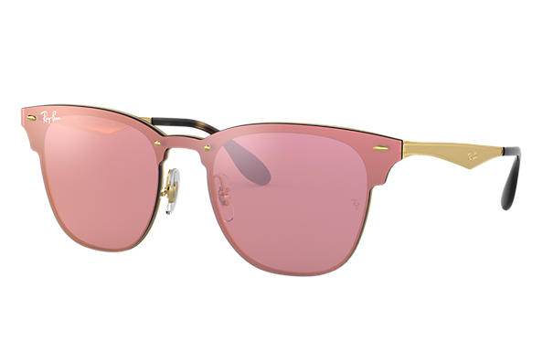 be8f7c81ca3c2 Ray-Ban Blaze Clubmaster RB3576N Gold - Metal - Pink Lenses ...