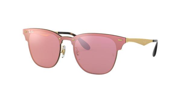 dfc3c8a2df Ray-Ban Blaze Clubmaster RB3576N Gold - Metal - Pink Lenses -  0RB3576N043 E447