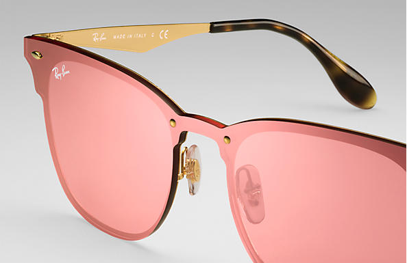 9f064a33dea09 Ray-Ban Blaze Clubmaster RB3576N Ouro - Metal - Lentes Rosa ...