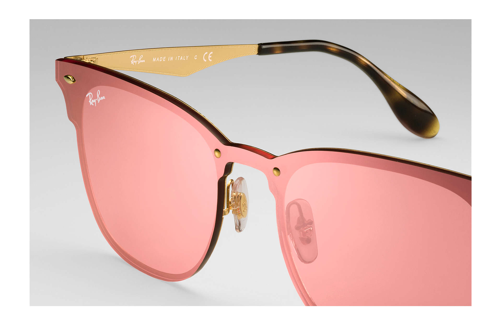 Ray-Ban Blaze Clubmaster RB3576N Ouro - Metal - Lentes Rosa ... a0ef05ed0f