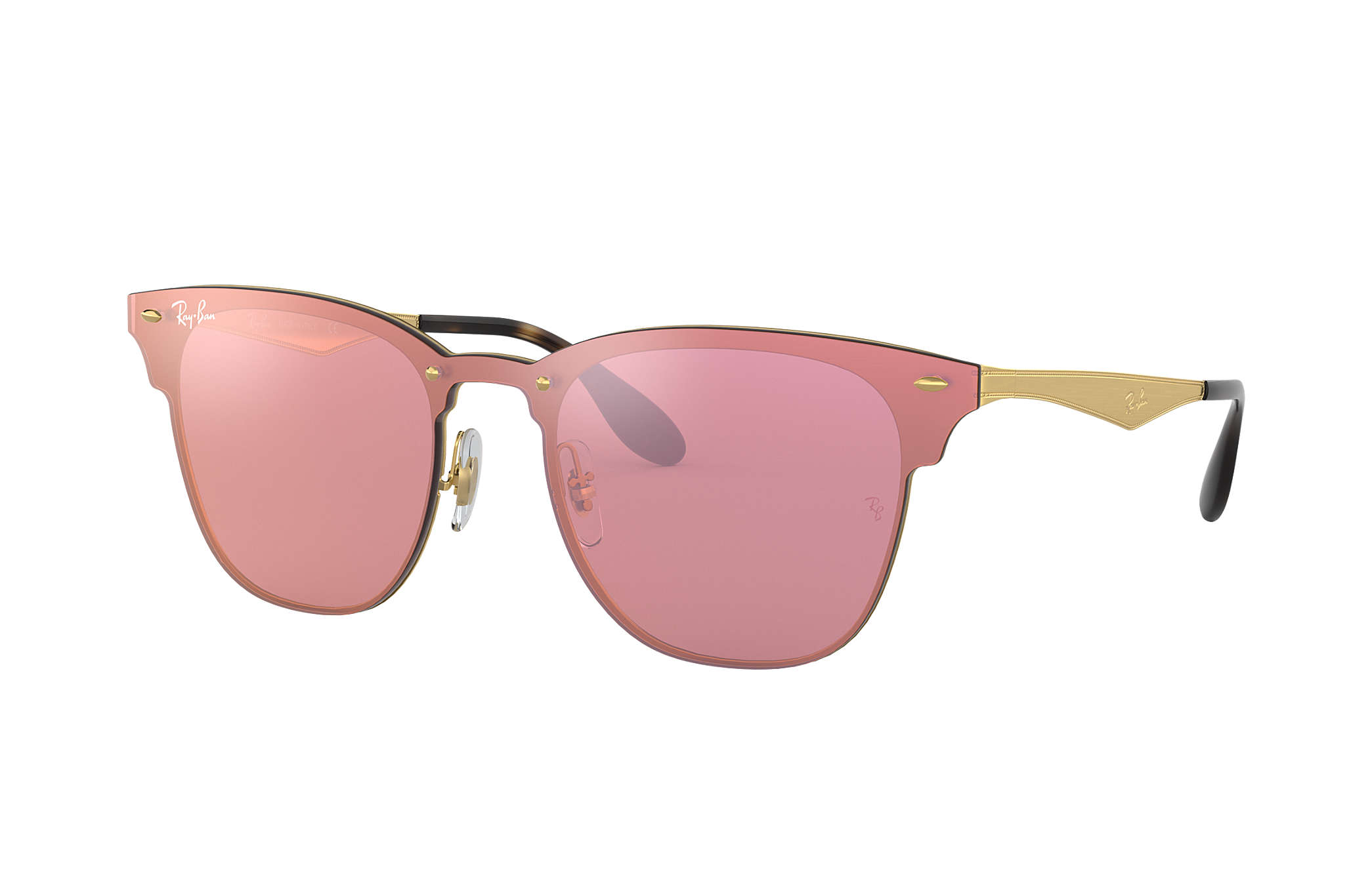 0b179c5d1fdce Ray-Ban Blaze Clubmaster RB3576N Ouro - Metal - Lentes Rosa ...