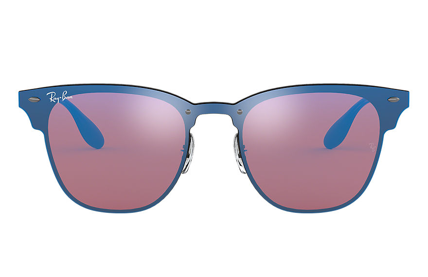 Ray-Ban BLAZE CLUBMASTER Black with Violet/Blue Mirror lens