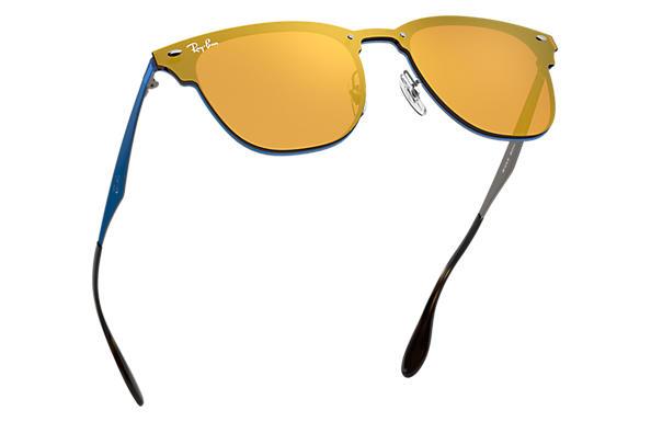 Ray-Ban Blaze Clubmaster RB3576N Blue - Metal - Dark Orange Lenses ... 8a9021d0e9