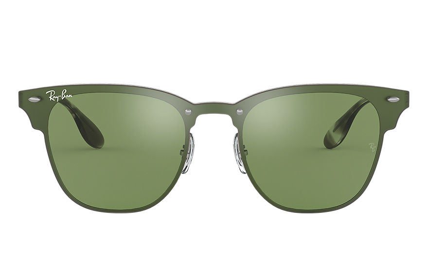 Ray-Ban BLAZE CLUBMASTER Silver with Dark Green/Silver Mirror lens
