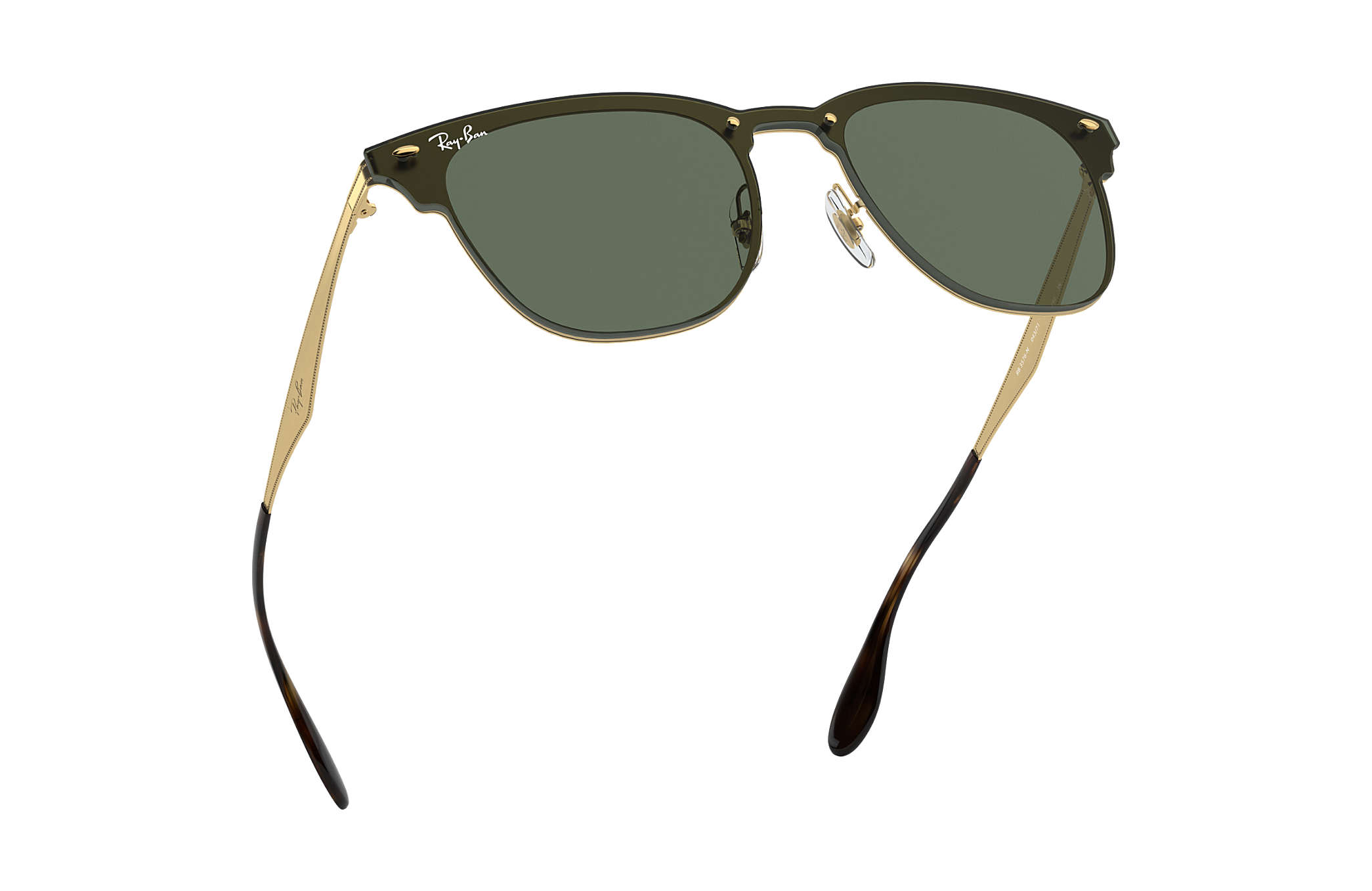 8fd412410428f Ray-Ban Blaze Clubmaster RB3576N Ouro - Metal - Lentes Verde ...