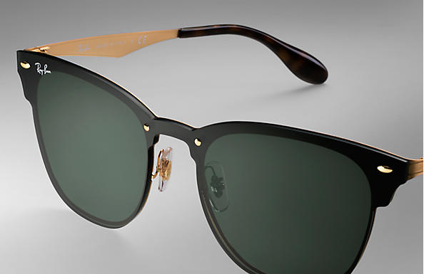 ca95c90deed48 Ray-Ban Blaze Clubmaster RB3576N Gold - Metal - Green Lenses ...