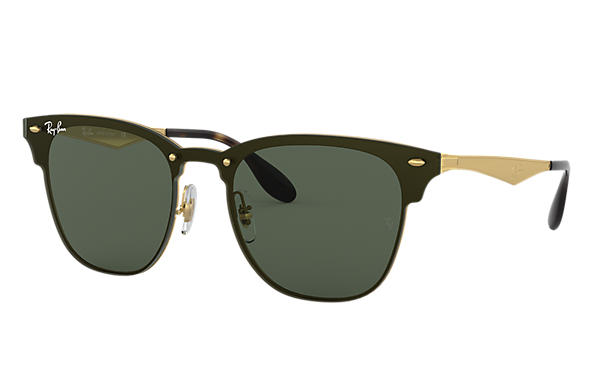 fb8fe5800a Ray-Ban Blaze Clubmaster RB3576N Gold - Metal - Green Lenses ...