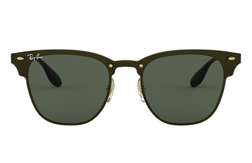 Ray-Ban Sunglasses BLAZE CLUBMASTER Gold with Green Classic lens