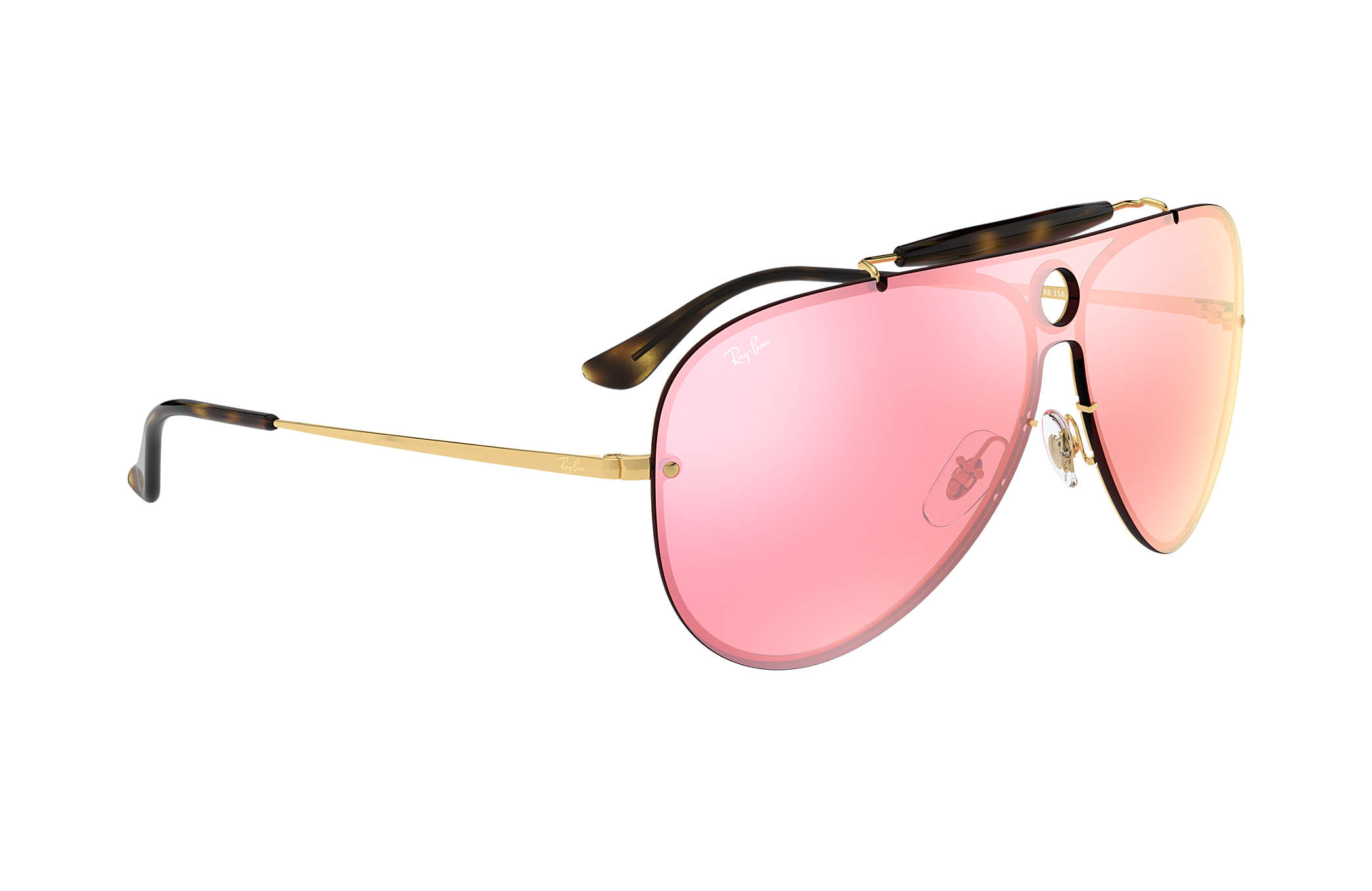 70e6174fdb Ray-Ban Blaze Shooter RB3581N Gold - Metal - Pink Lenses ...