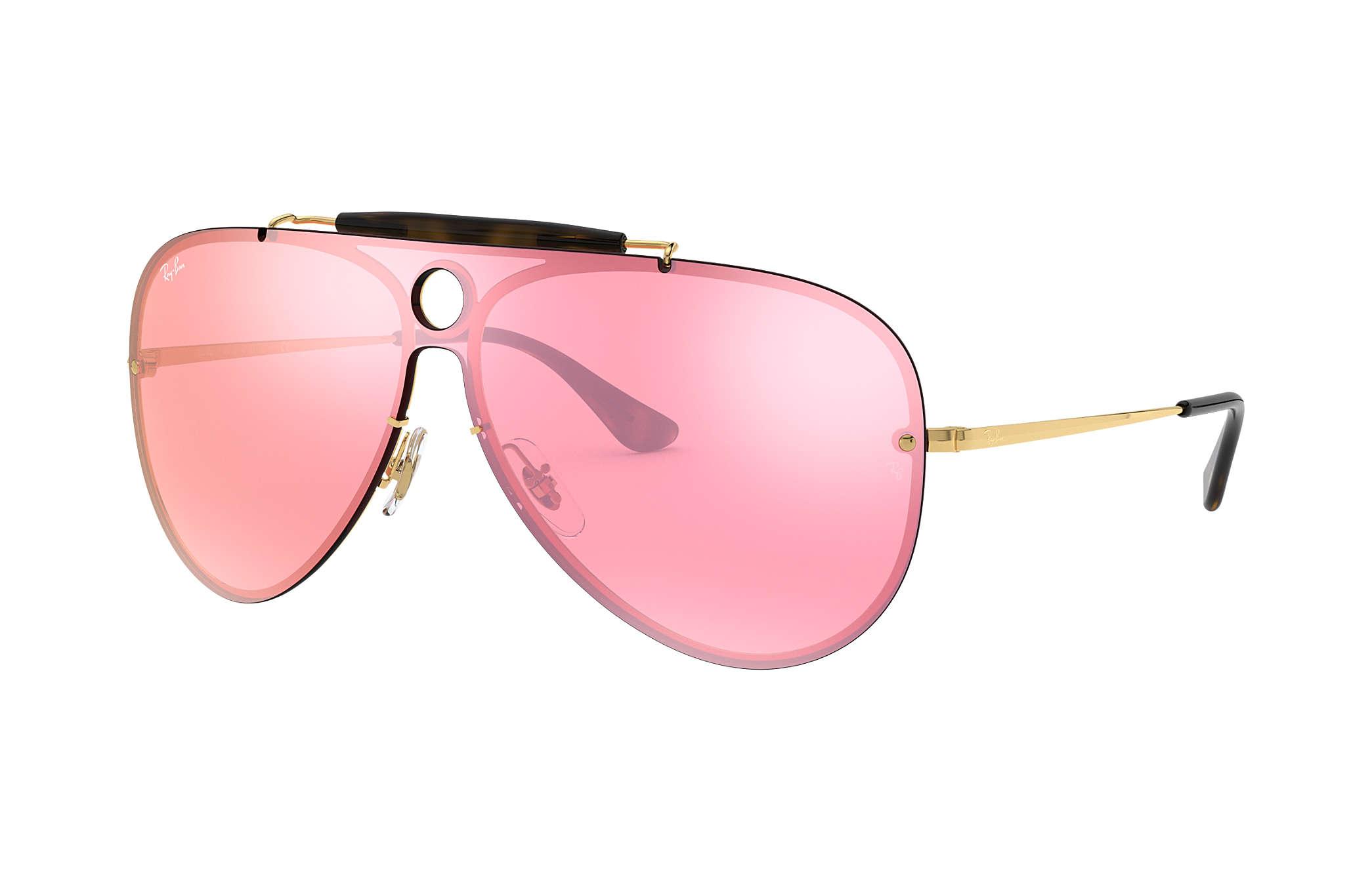 bea57702220 Ray-Ban Blaze Hexagonal RB3579N Gold - Metal - Pink Lenses ...