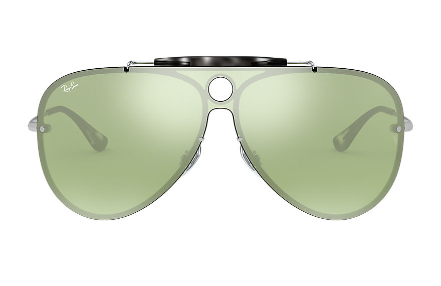 Ray-Ban BLAZE SHOOTER Silver with Dark Green/Silver Mirror lens