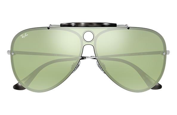 Ray-Ban BLAZE SHOOTER Silver with Dark Green/Silver Mirror lens