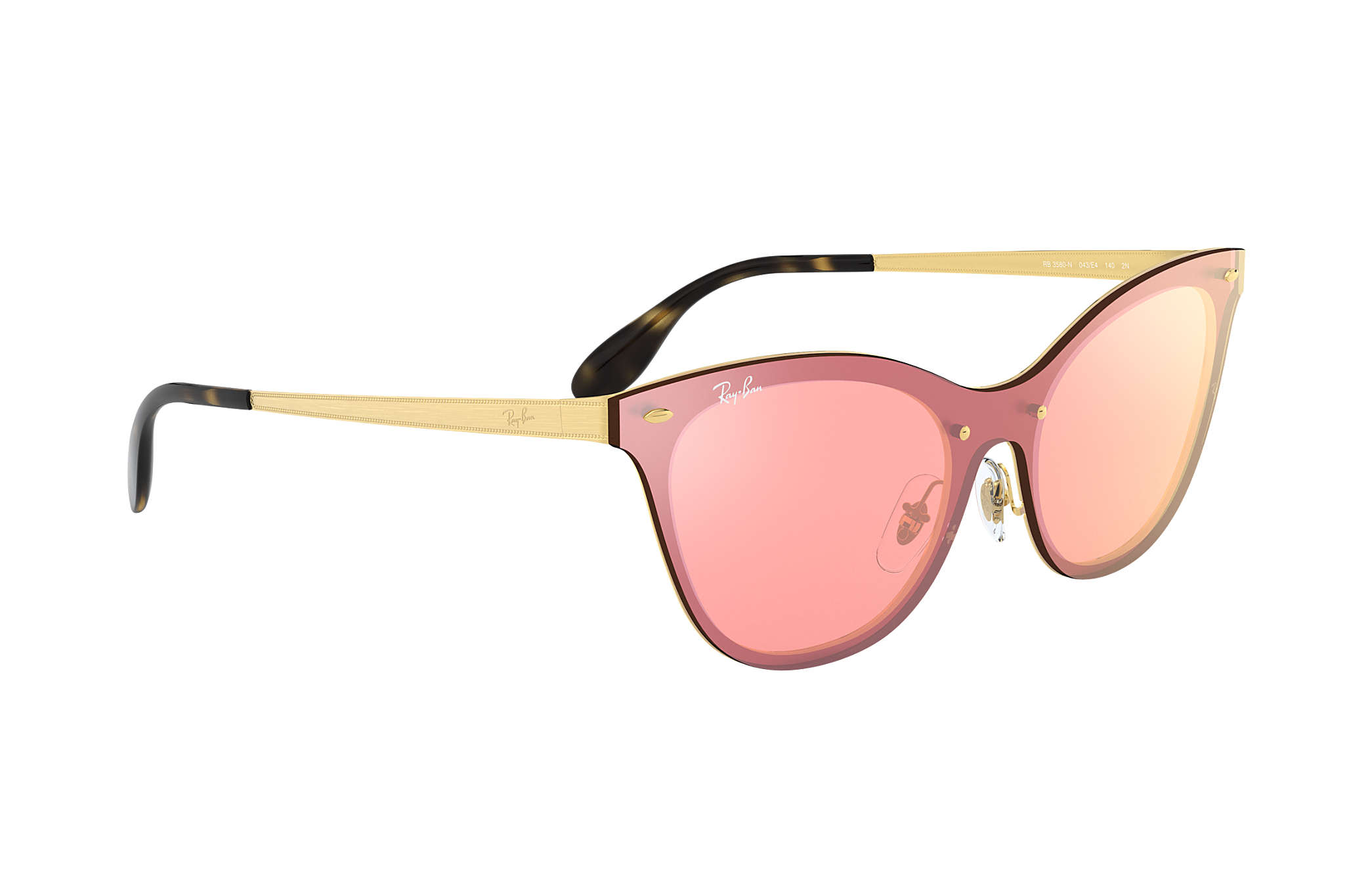 8f2c9caf49 Ray-Ban Blaze Cat Eye RB3580N Gold - Steel - Pink Lenses ...