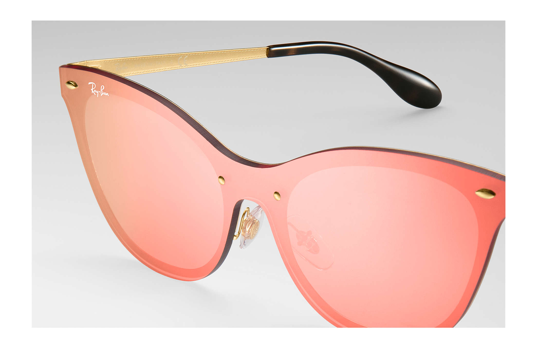 7540bc9764 Ray-Ban Blaze Cat Eye RB3580N Gold - Steel - Pink Lenses ...
