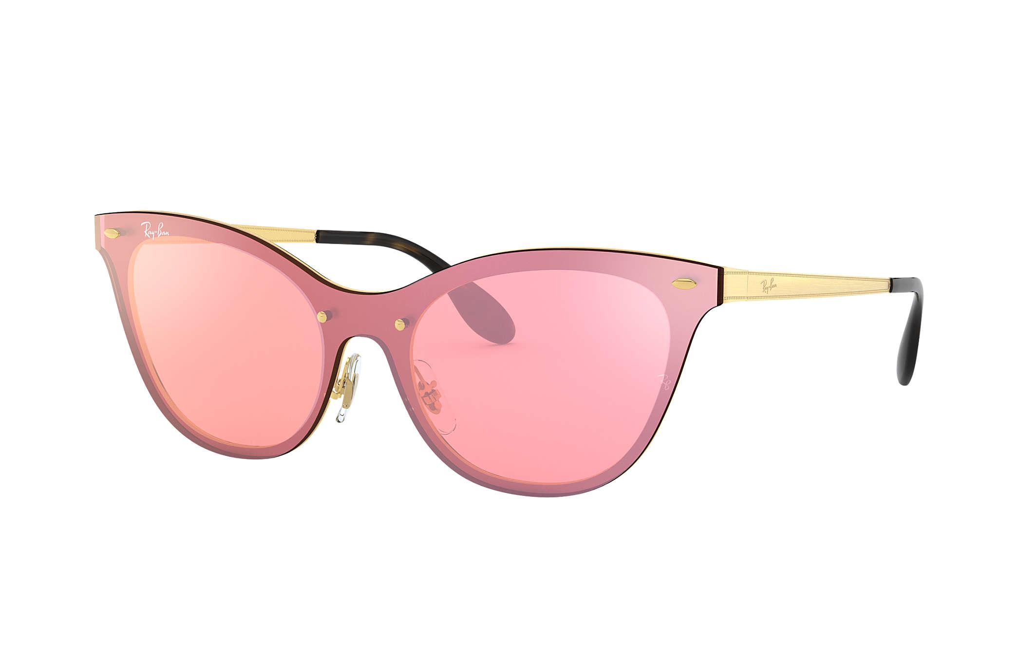 77aed8f2c1 Ray-Ban Blaze Hexagonal RB3579N Gold - Metal - Pink Lenses ...