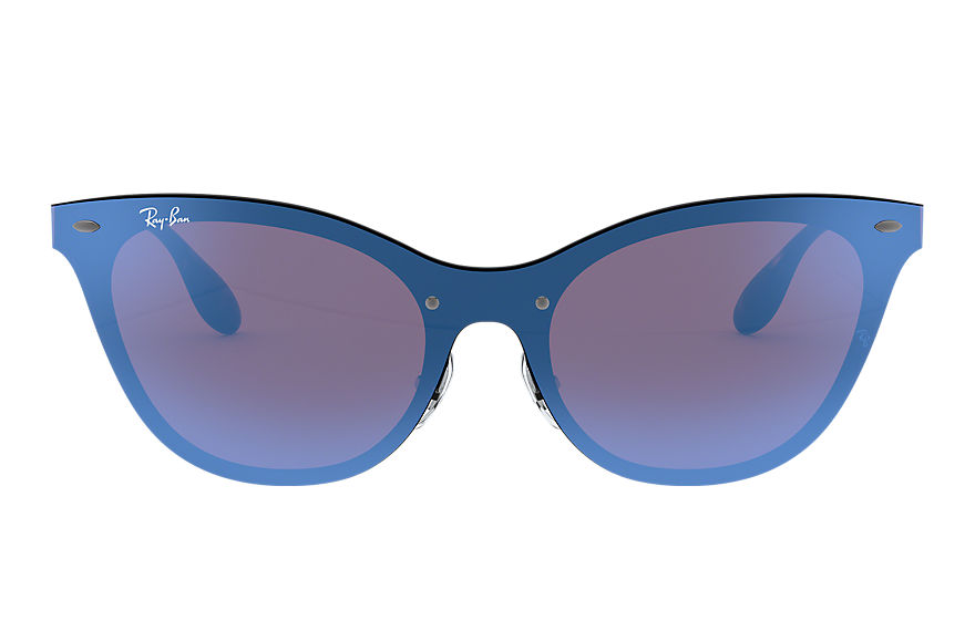 Ray-Ban BLAZE CAT EYE Black with Violet/Blue Mirror lens