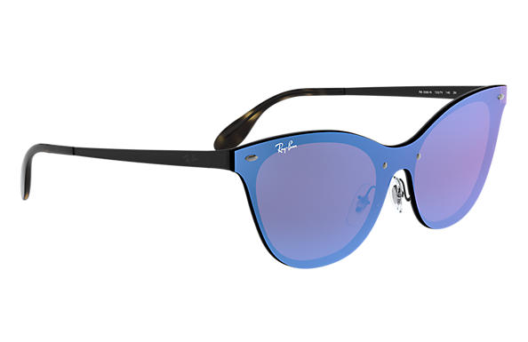 2b0a1f2c9b Ray-Ban Blaze Cat Eye RB3580N Black - Steel - Violet Blue Lenses ...