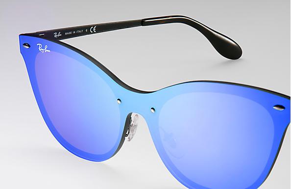 Ray-Ban Blaze Cat Eye RB3580N Preto - Aço - Lentes Violeta Azul ... 78c3172bdb