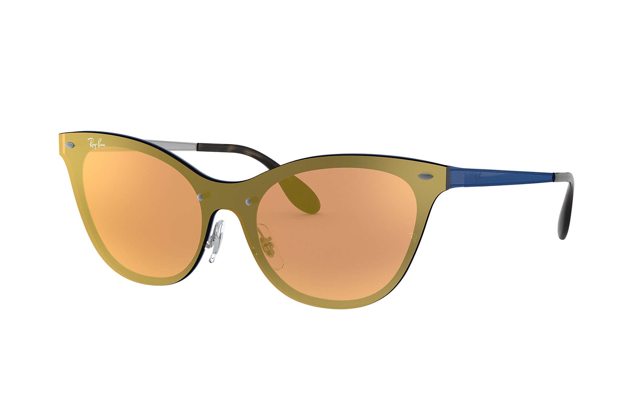 Ray-Ban Blaze Cat Eye RB3580N Azul - Acero - Lentes Naranja ... 3e8be6b950d5