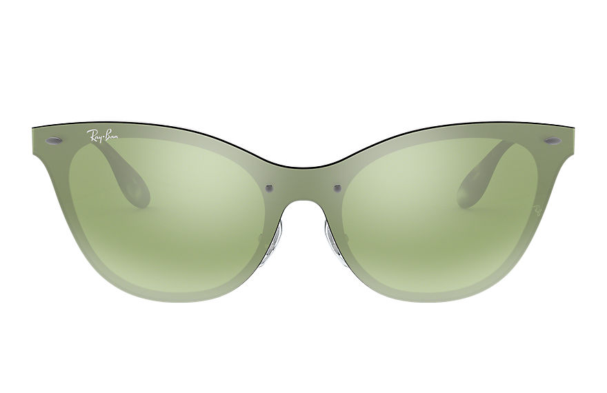 Ray-Ban BLAZE CAT EYE Silver with Dark Green/Silver Mirror lens
