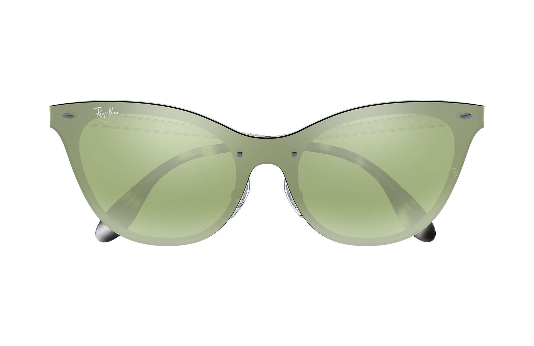 ec42f2710f71d Ray-Ban Blaze Cat Eye RB3580N Silver - Steel - Dark Green Silver ...