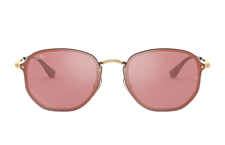 Ray-Ban BLAZE HEXAGONAL Gold with Pink Mirror lens