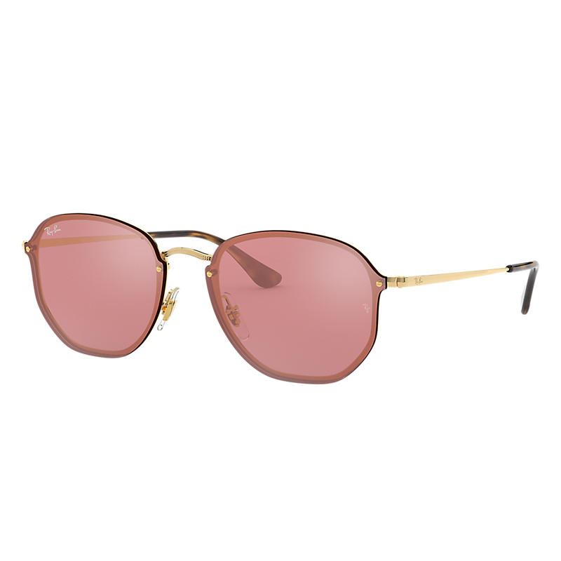 Ray-Ban Blaze Hexagonal Gold Sunglasses, Pink Lenses