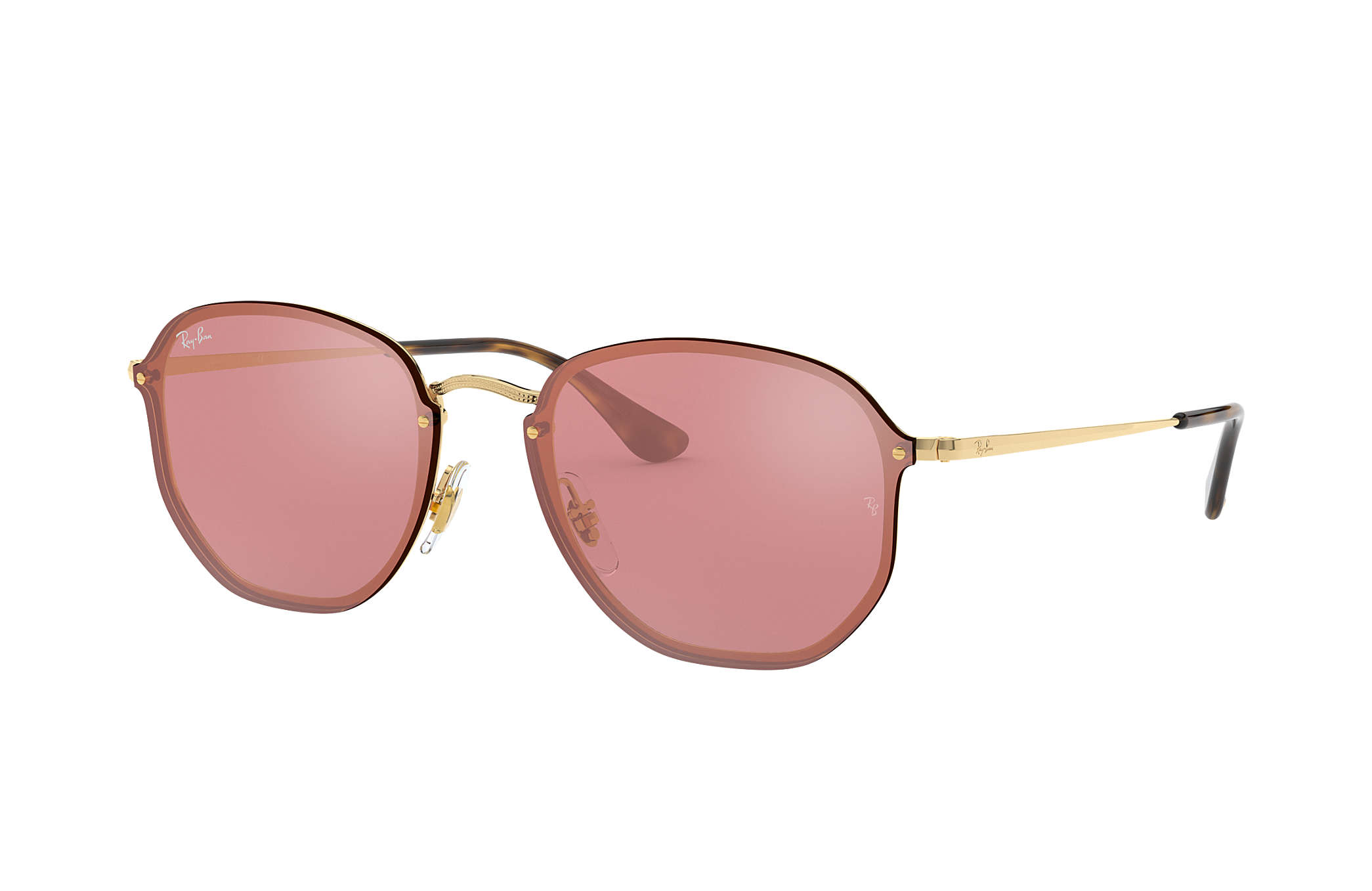 1c4e7321b2389 Ray-Ban Blaze Hexagonal RB3579N Gold - Metal - Pink Lenses ...