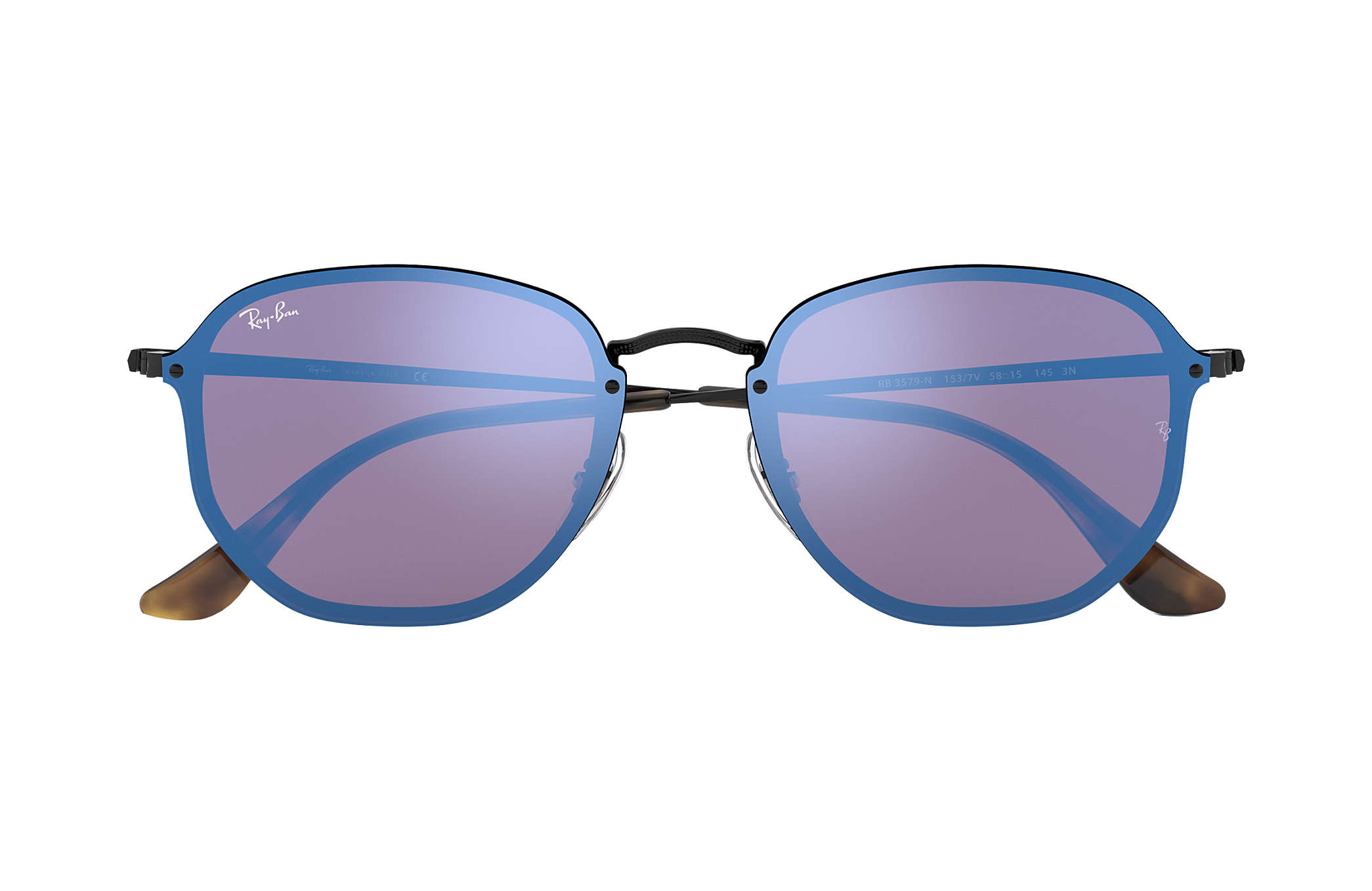 66e3887d92 Ray-Ban Blaze Hexagonal RB3579N Black - Metal - Violet Blue Lenses ...