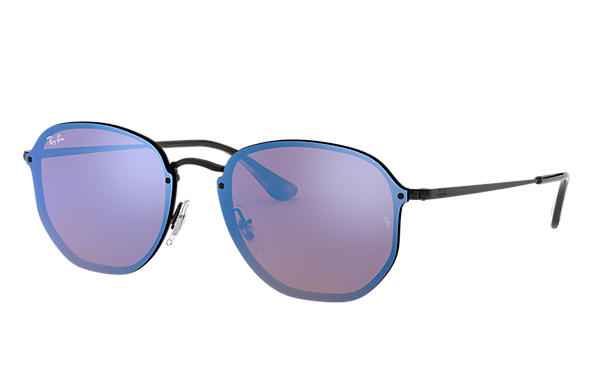66e3887d92 Ray-Ban Blaze Hexagonal RB3579N Black - Metal - Violet Blue Lenses ...