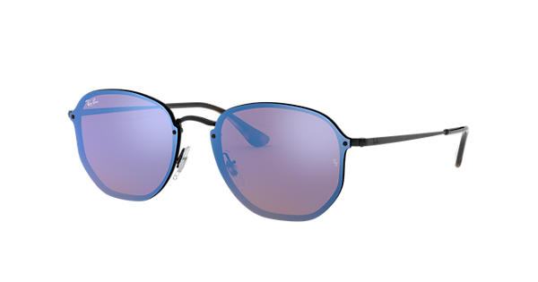 1281ecf385 Ray-Ban Blaze Hexagonal RB3579N Black - Metal - Violet Blue Lenses -  0RB3579N153 7V58