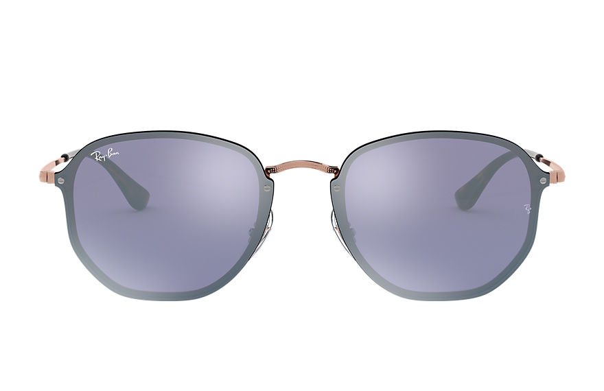 Ray-Ban BLAZE HEXAGONAL Bronze-Copper with Violet Mirror lens