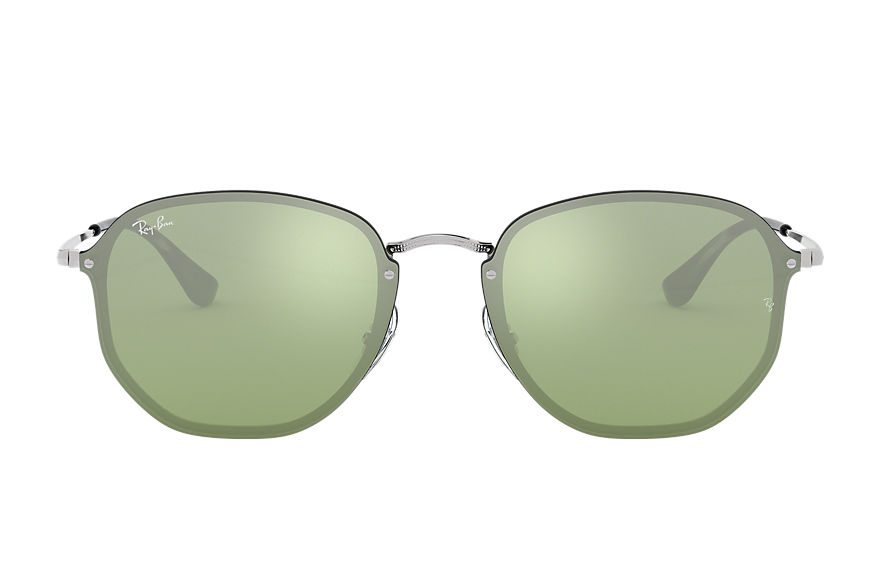 Ray-Ban BLAZE HEXAGONAL Silver with Dark Green/Silver Mirror lens