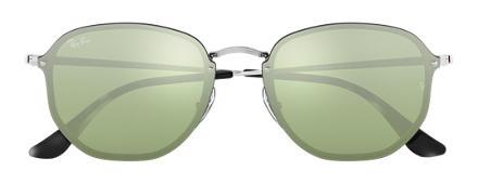 Ray-Ban BLAZE HEXAGONAL Prata com Verde-escuro Prata Espelhada lentes 25c2318e53