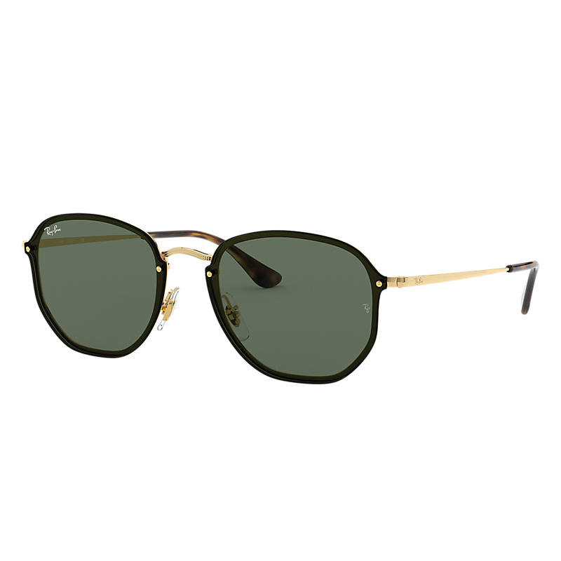 Ray-Ban Blaze Hexagonal Gold Sunglasses, Green Lenses