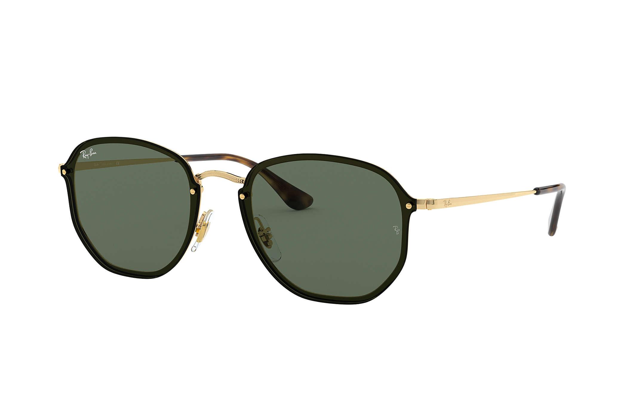 11ee93f9ccfa9 Ray-Ban Blaze Hexagonal RB3579N Gold - Metal - Green Lenses ...
