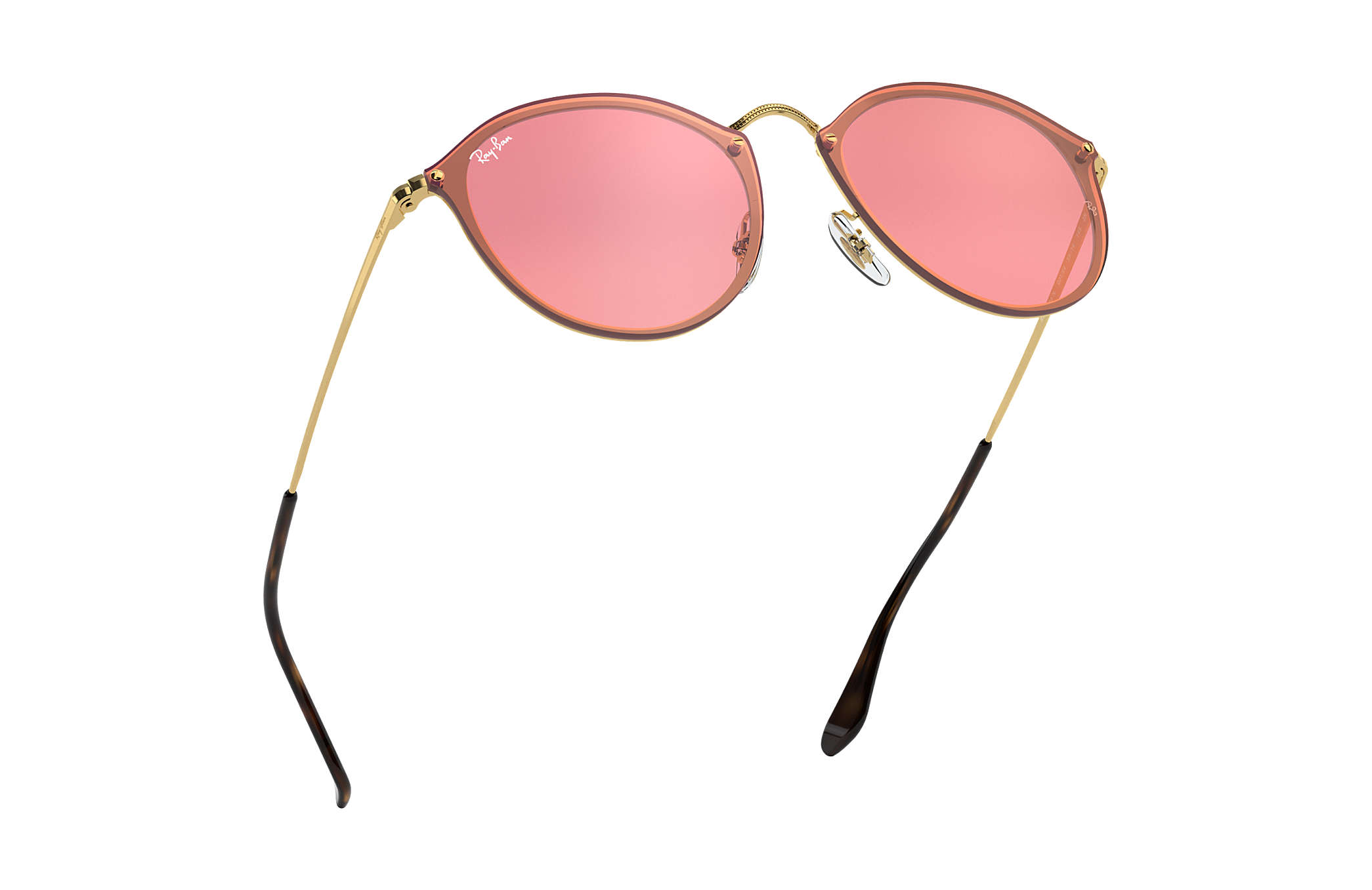 fb6f800ff9cba Ray-Ban Blaze Round RB3574N Gold - Metal - Pink Lenses - 0RB3574N001 ...