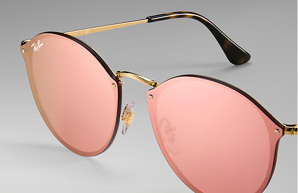 2c6612105 Ray-Ban Blaze Round RB3574N Gold - Metal - Pink Lenses - 0RB3574N001 ...