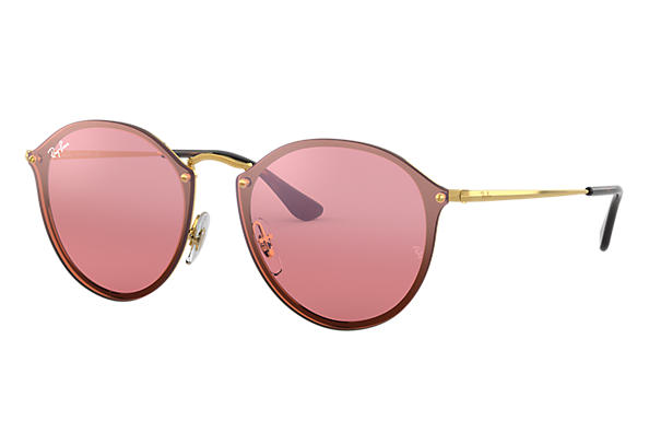 efa60aa967 Ray-Ban Blaze Round RB3574N Gold - Metal - Pink Lenses - 0RB3574N001 ...