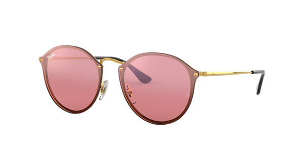 9e0ce0fbfef38a Ray-Ban Blaze Round RB3574N Gold - Metal - Pink Brillenglazen -  0RB3574N001 E459