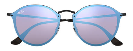 Ray-Ban BLAZE ROUND Black with Violet/Blue Mirror lens