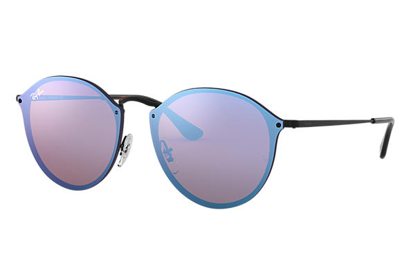 c4341c19bc Ray-Ban Blaze Round RB3574N Black - Metal - Violet Blue Lenses ...