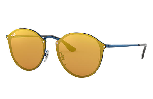 Ray-Ban Sunglasses BLAZE ROUND Blue with Dark Orange Mirror lens