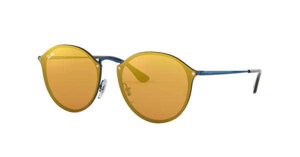 68c7be05df Ray-Ban Blaze Round RB3574N Blue - Metal - Dark Orange Lenses -  0RB3574N90387J59
