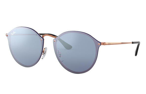 f061122996 Ray-Ban Blaze Round RB3574N Bronze-Copper - Metal - Violet Lenses ...