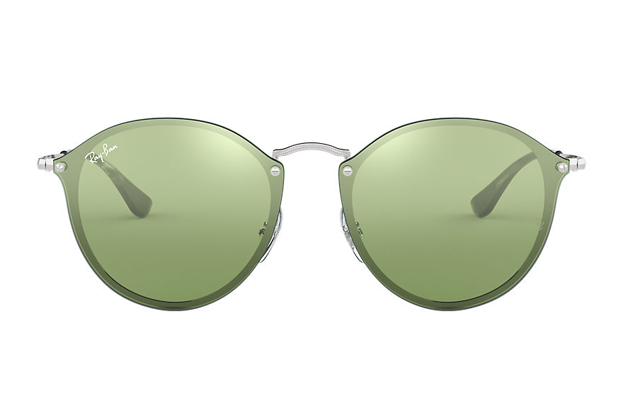Ray-Ban BLAZE ROUND Silver with Dark Green/Silver Mirror lens
